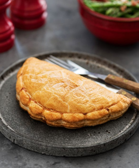 Pasty on a rustic plate